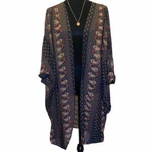 Black Kimono Paisley Design Medium